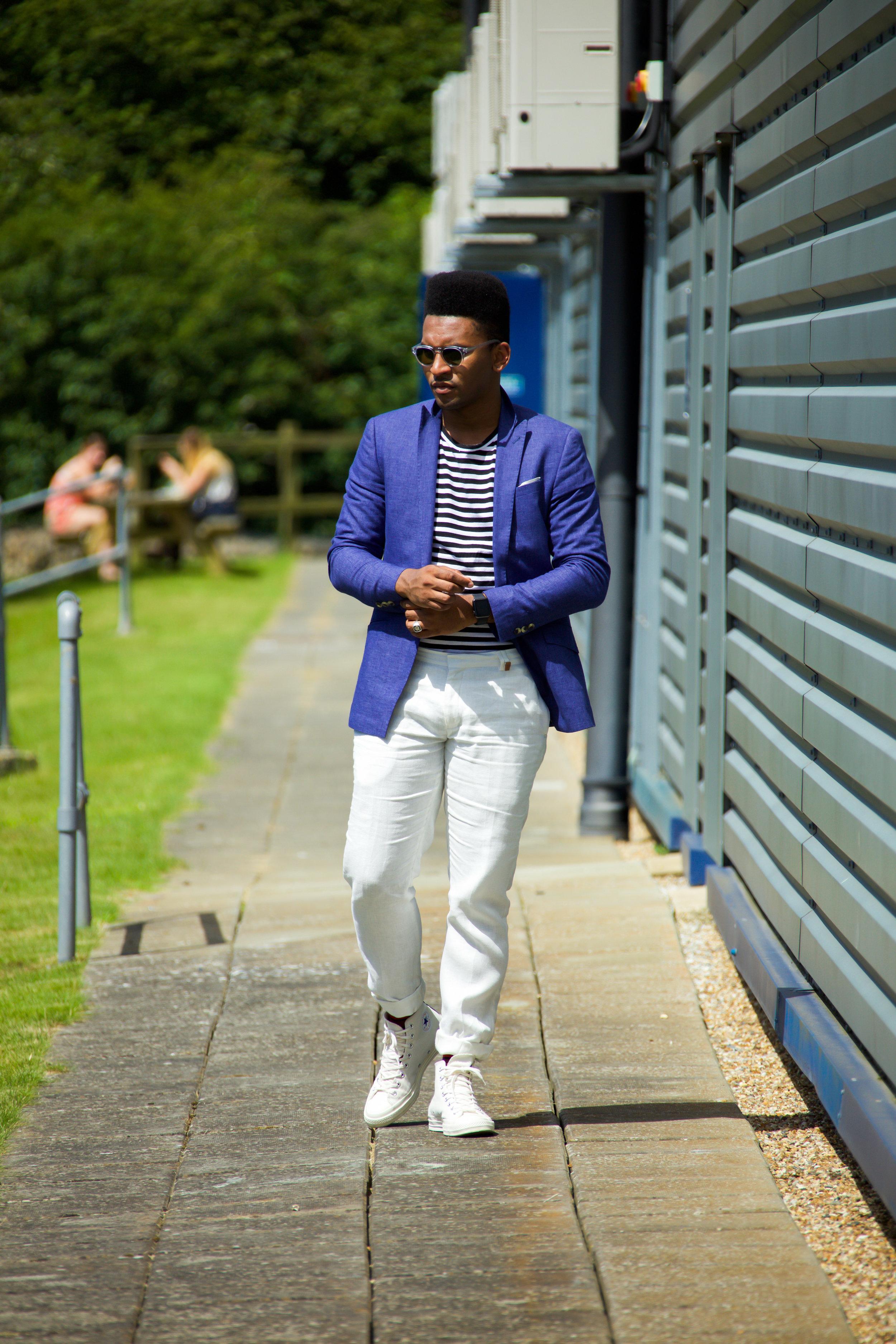 Blue summer suit blogger london