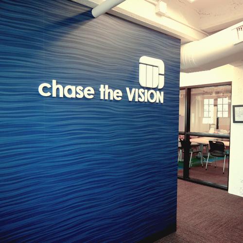 Company Slogan on Decorative Wallcovering