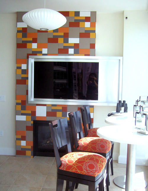Television and Tile Accent Wall