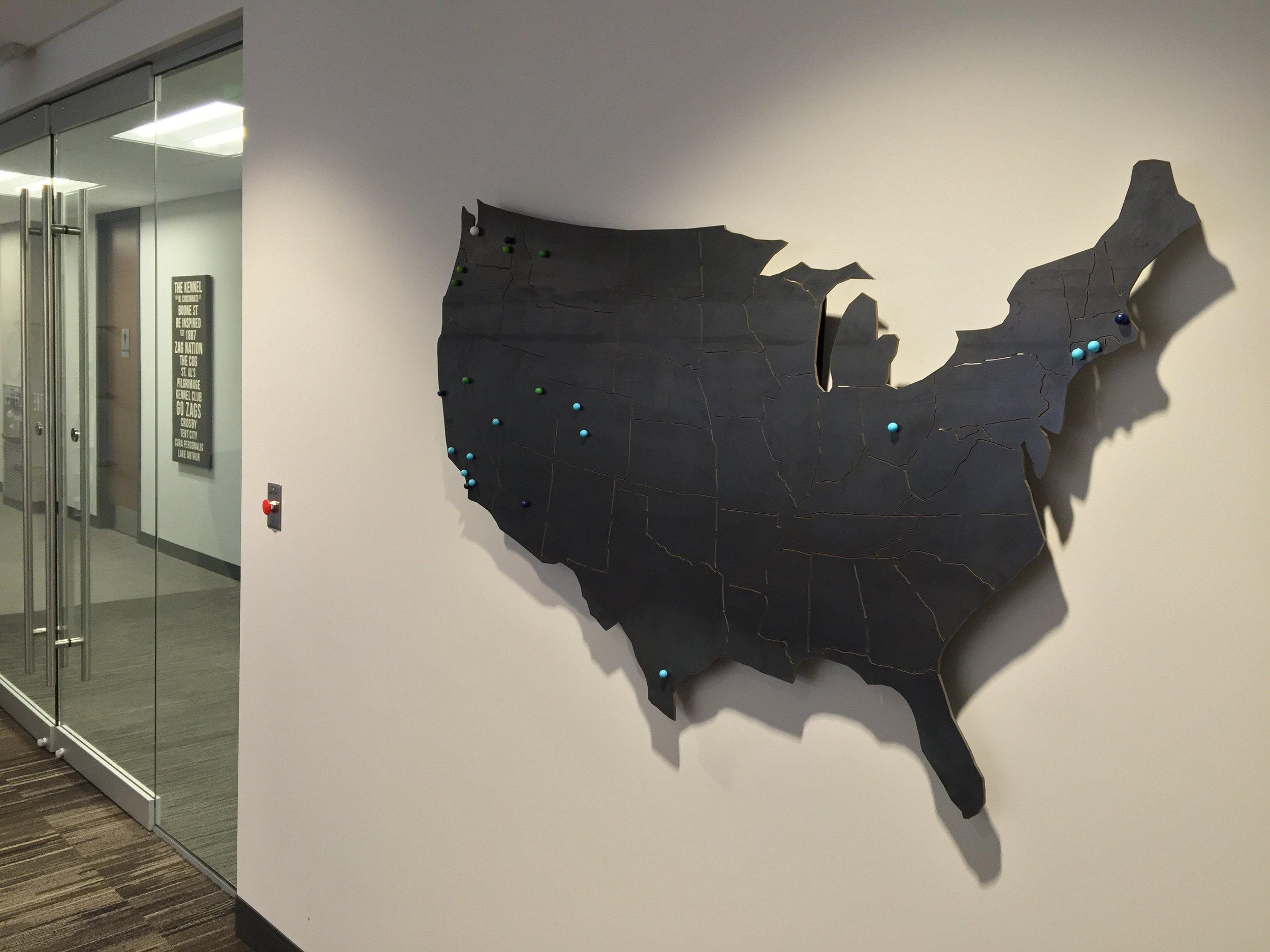 custom, metal art, United States map