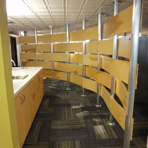Washington Trust Bank | Priority Service Department in the Holley Mason Building | Woven wall visually separates the kitchenette area