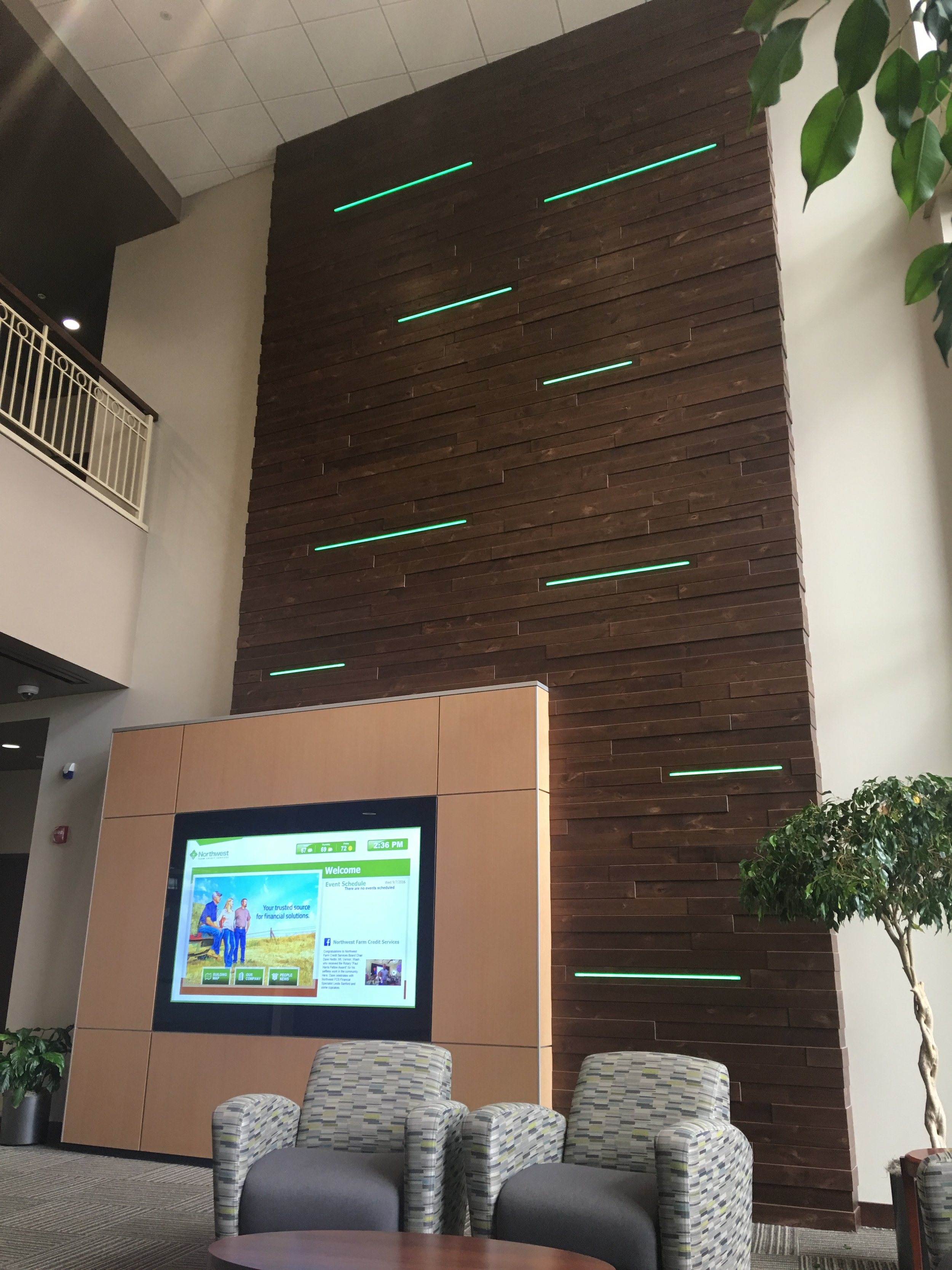 Custom Wood Wall / Integrated LED Lighting / DIRTT wall / Media wall
