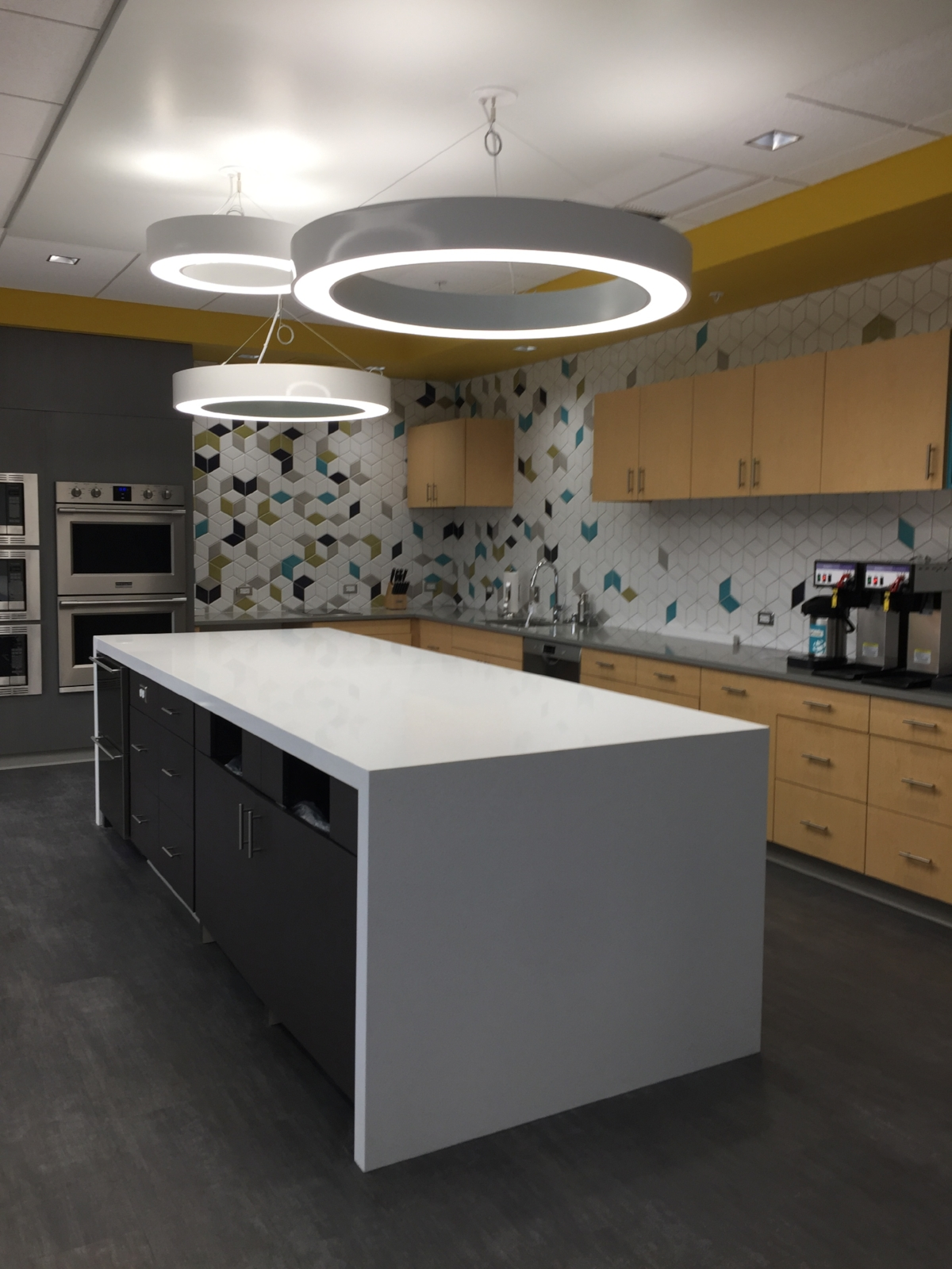 LKitchen Island / Staff lounge Island / Break room / Custom tile backsplash / Rhombus Tile