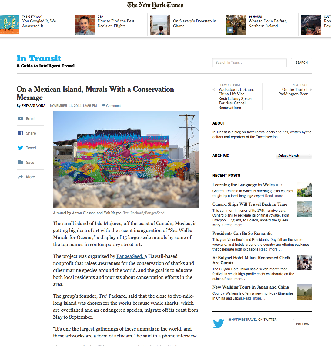 New York Times feature on Sea Walls - Murals For Oceans - Isla Mujeres -   VIEW HERE