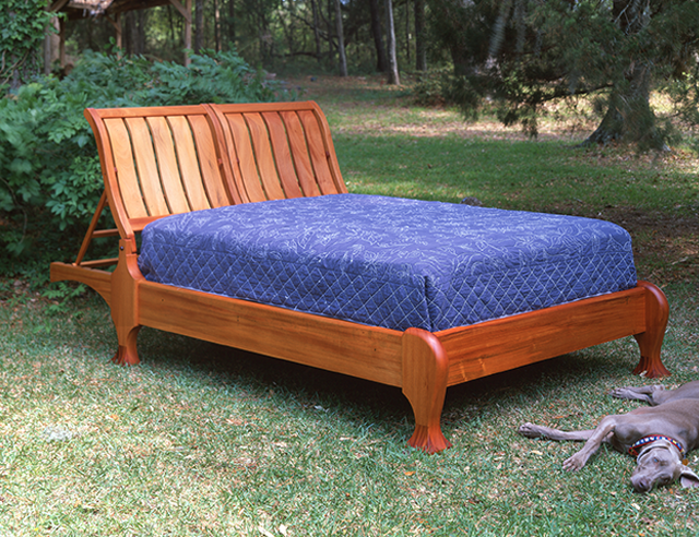 Mahogany Queen Bed with Adjustable Headboards