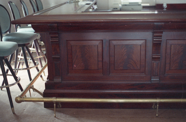 English Style Mahogany Bar with Feather Crotch Panels