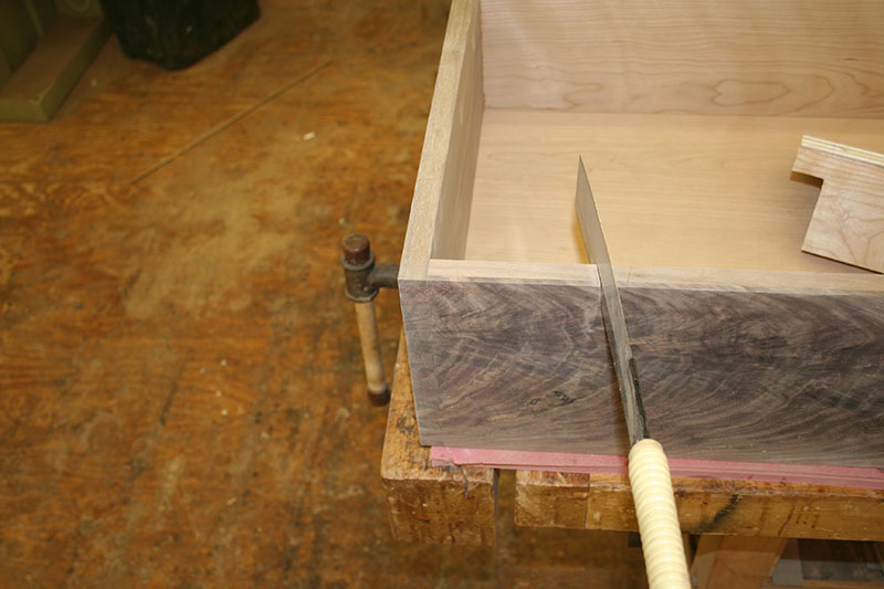 Roughing out the dovetail for the pulls