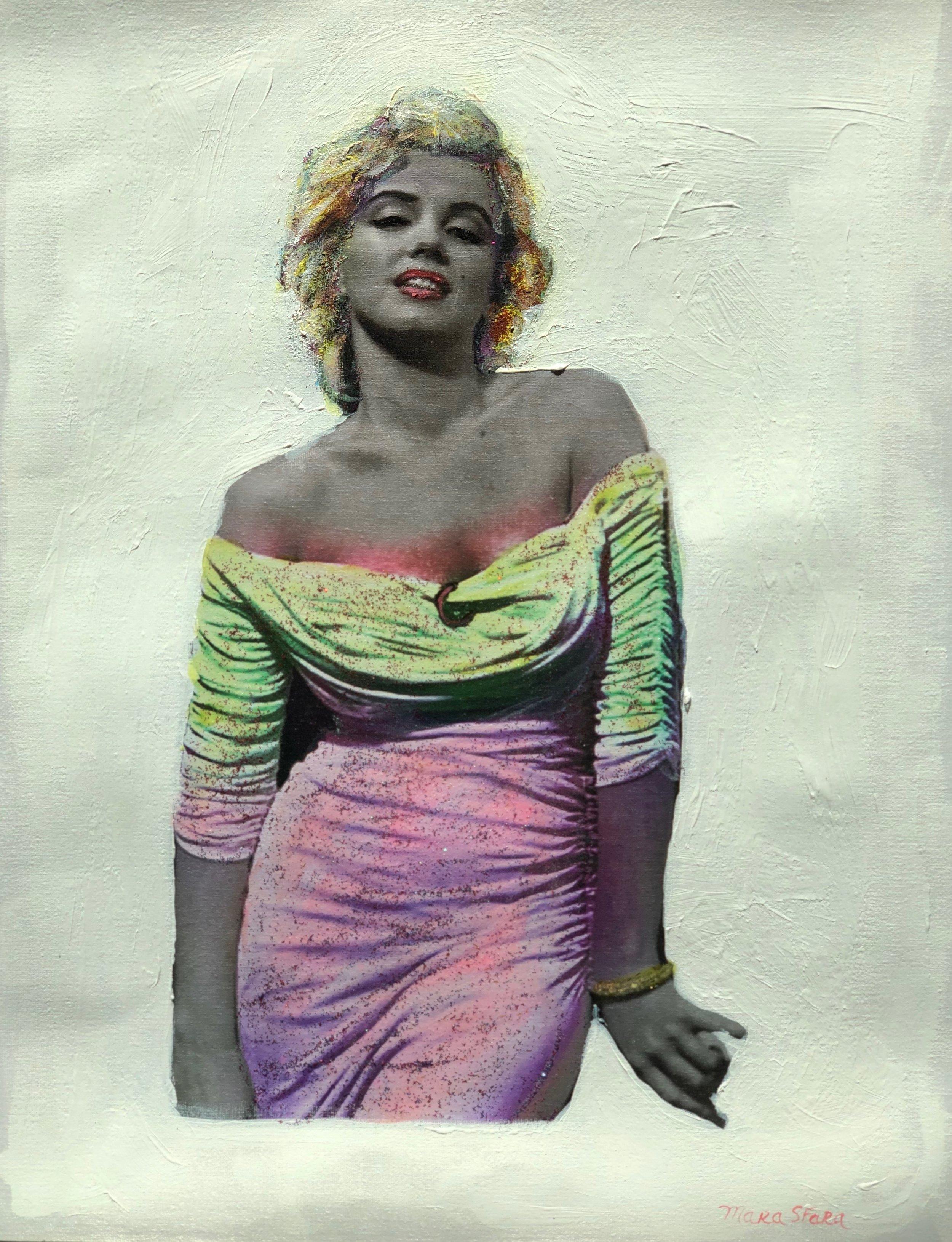 "Marilyn Monroe, Mixed Media, H12"" X W 17"""