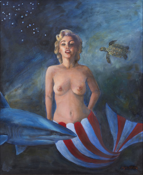 "Marilyn Swimming with a Shark and a Turtle, Oil on linen  H 29"" X W 25"" X D 2.5"""