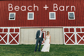 A bright sunny day at the beach for a wedding, followed by a cozy barn reception.