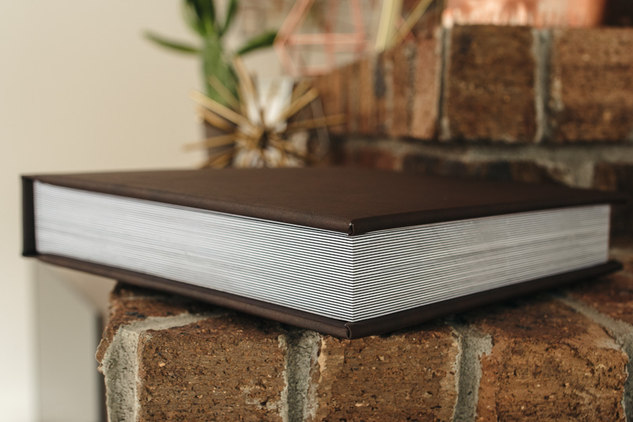Padded leather cover, thick pages, 30 spreads.