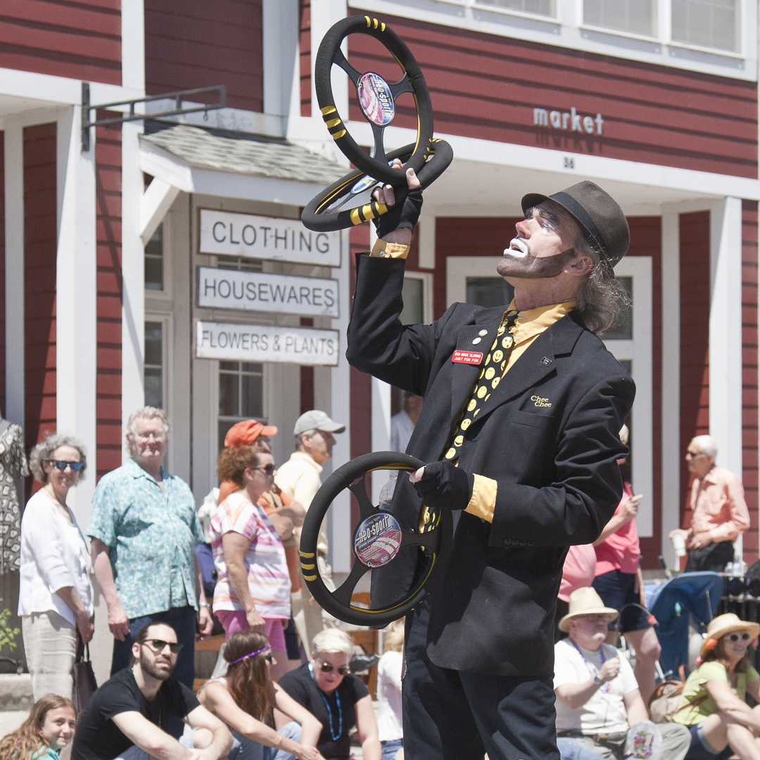 Chee Chee the Clown.   12th Annual Trout Parade, June 13, 2015.   Photo by Ted Pilonero.