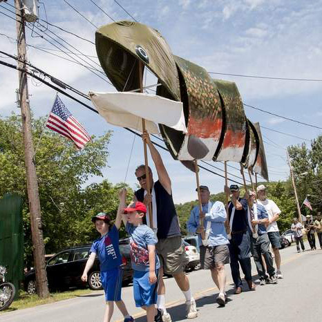 Bud Wertheim's Giant Brook Trout Puppet.   12th Annual Trout Parade, June 13, 2015.   Photo by Dawn J. Benko for the Times Herald-Record.