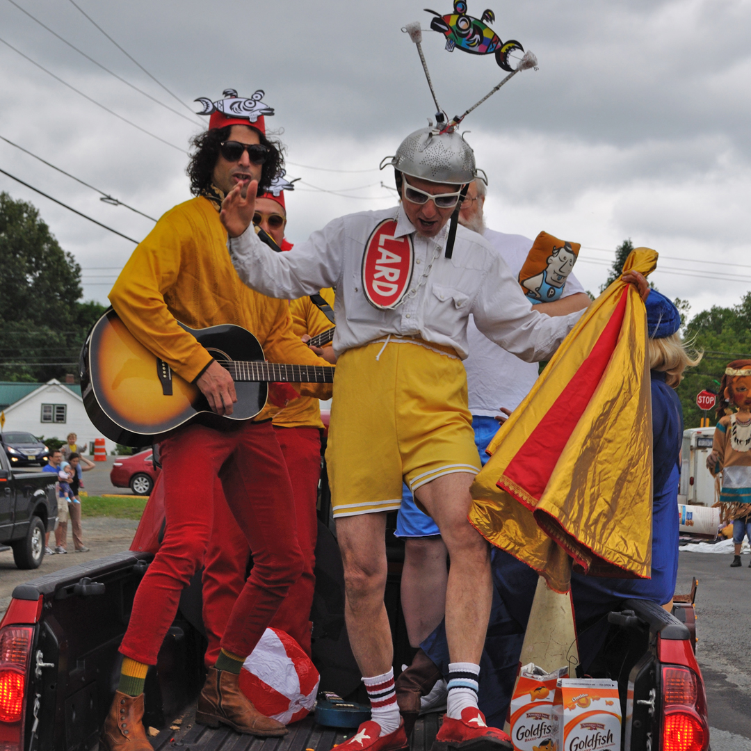 Human LARD Dog and the Band of Shy.   11th Annual Trout Parade, June 14, 2014.   Photo by Elizabeth Ennis.