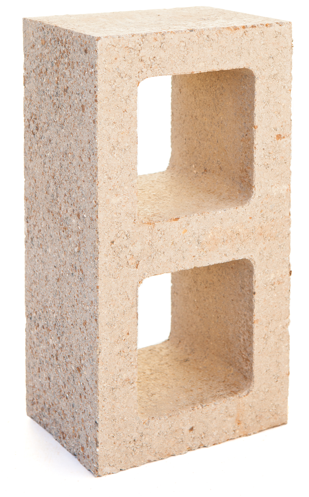 Watershed Block made with half the cement of an ordinary concrete block. The block derives its natural appearance from the mineralogy of locally sourced recycled material.