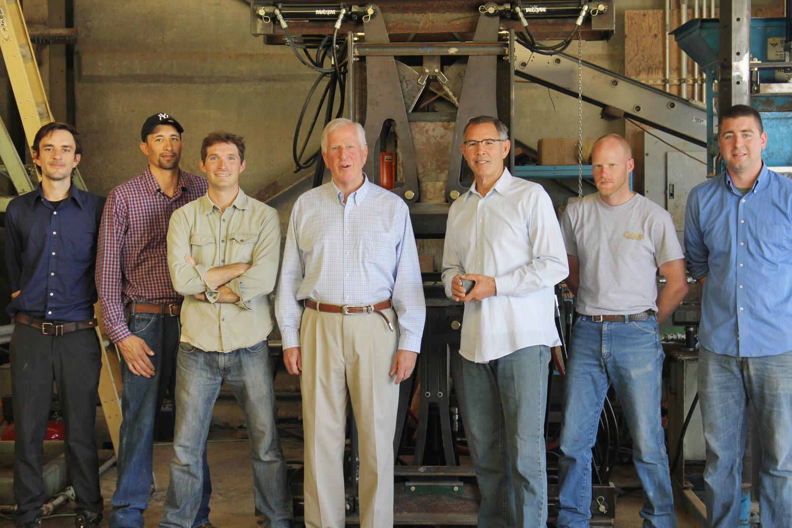 Watershed Materials team members Taj Easton, Edward De Reza, Dan Alvarado, David Easton, Mike Madison and Matthew Richardswith Congressman Mike Thompson.