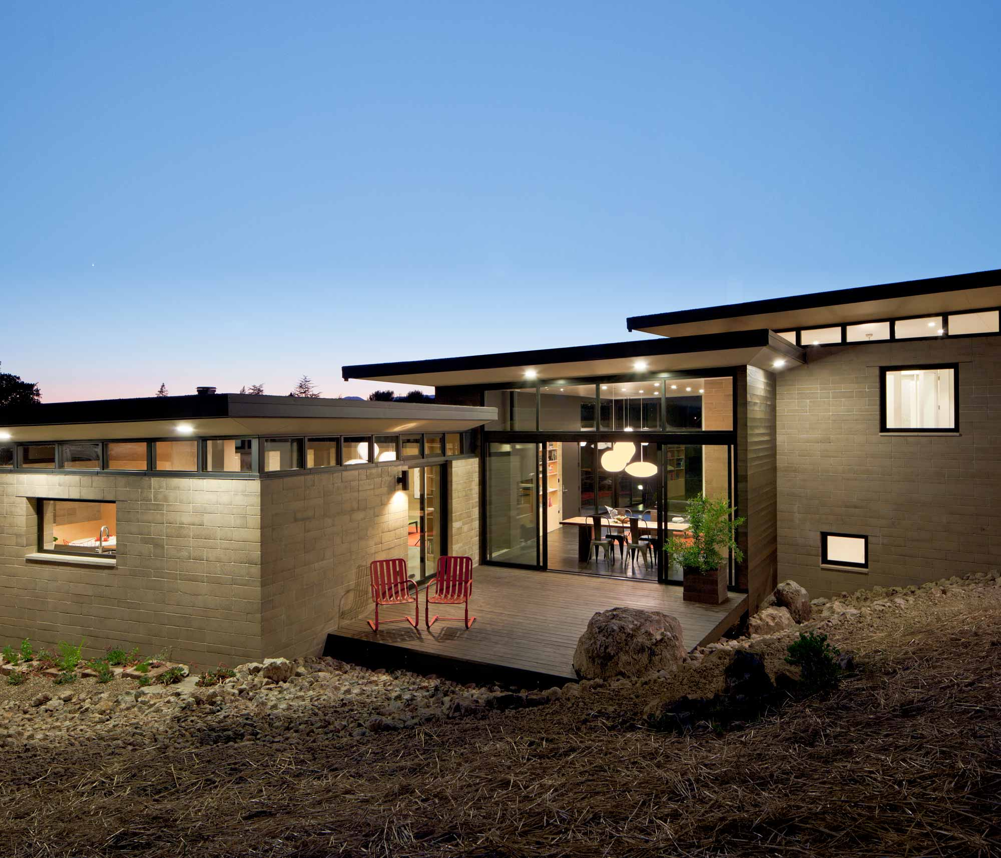 Reduced Cement Watershed Block In A Sustainable Residence in Napa California