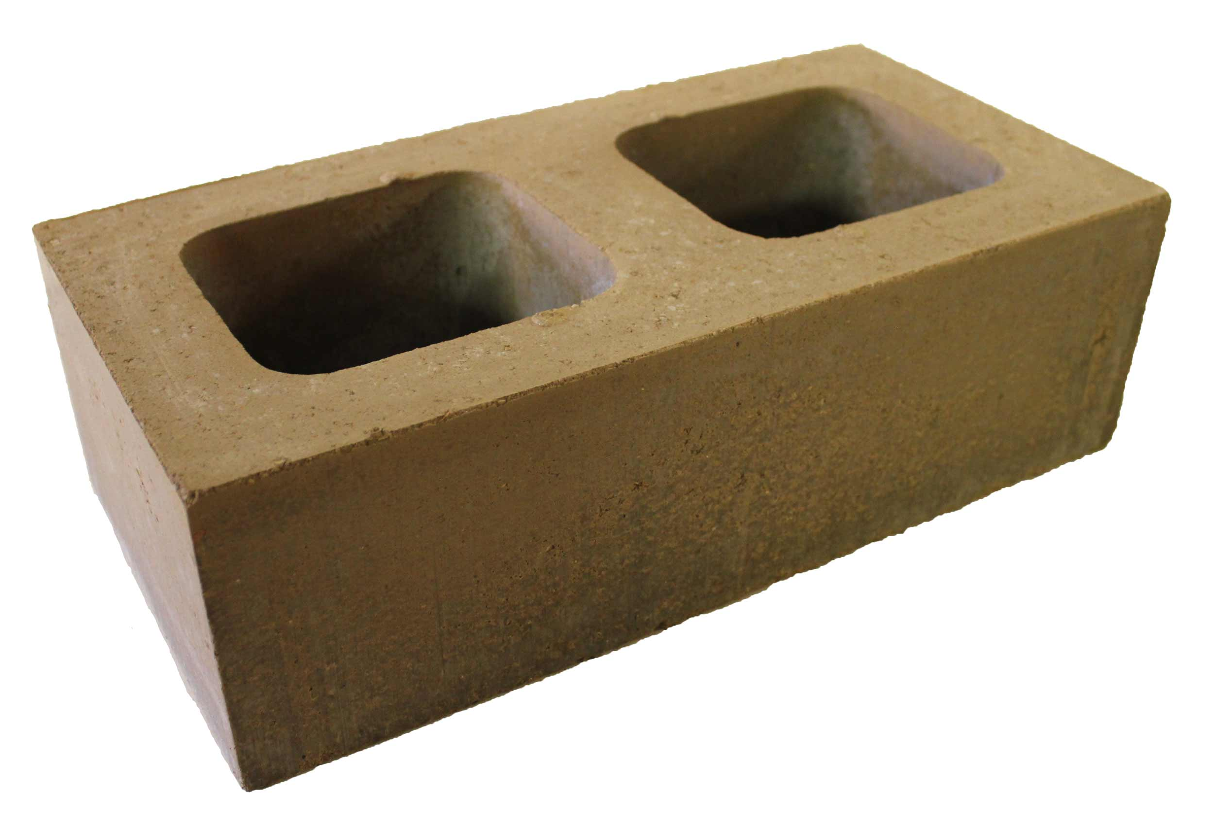 Sample structural masonry block produced by Watershed Materials from soil samples taken at the Kirkham Heights Apartments in the Inner Sunset neighborhood of San Francisco. The block achieved a final compressive strength of 2,905 psi and a density of 131 pounds per cubic foot averaged over three specimens. The beautiful appearance comes from Watershed Materials' ultra high compression technology combined with the native site material - a medium dense reddish-brown clayey sand with angular gravel and rock fragments. Blocks such as these are proposed to be produced on site at the Kirhkam Project redevelopment, made from repurposed excavation and used throughout the development site as structural and decorative masonry elements.