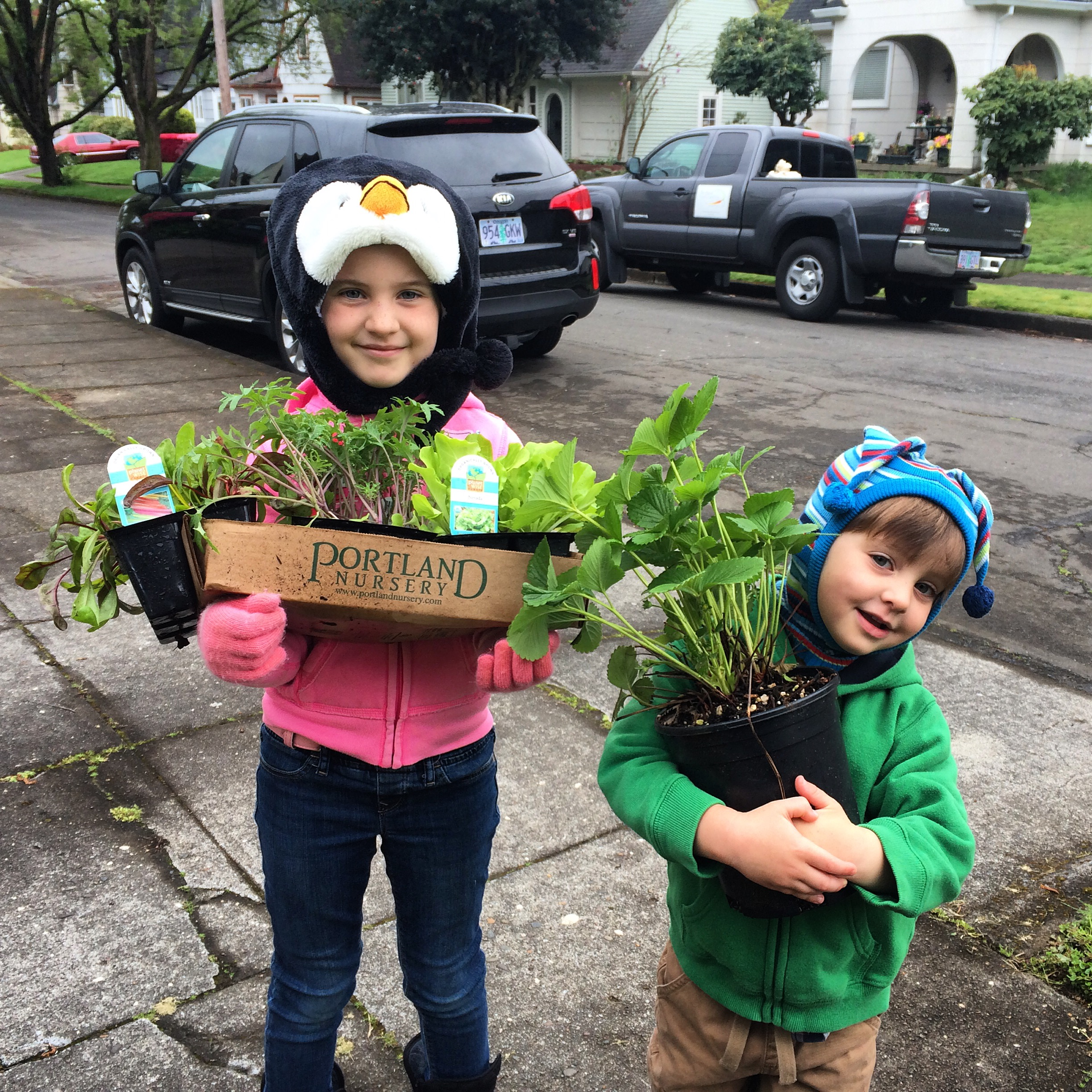 These two cuties are very enthusiastic about their Spring garden