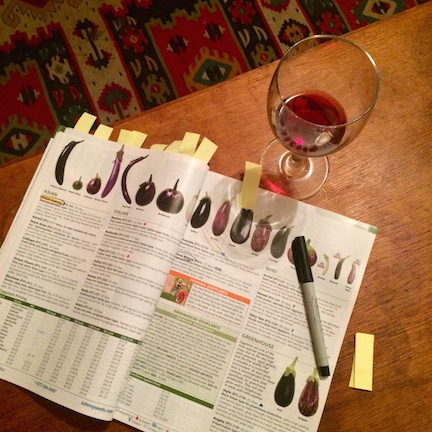 Seed Catalogs can provide a lot of inspiration and help in deciding what to grow in your edible garden.  ...A glass of wine and a warm fire help a lot too.