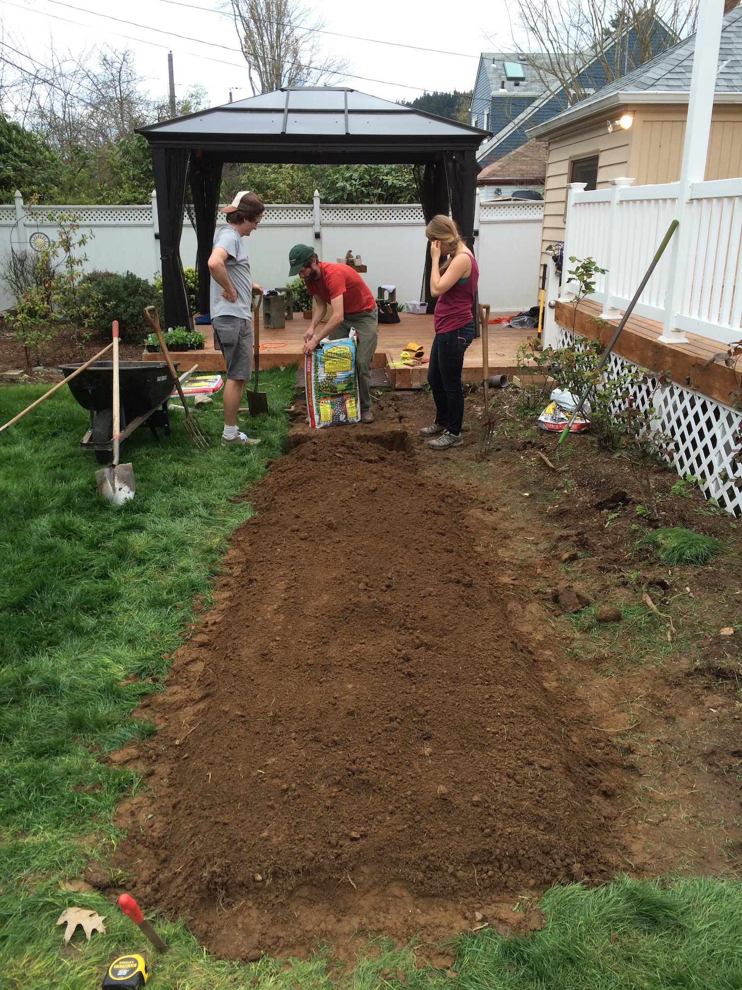 Break up surface clods with a garden fork and hard rake leaving a fine soil texture on the surface for planting into.