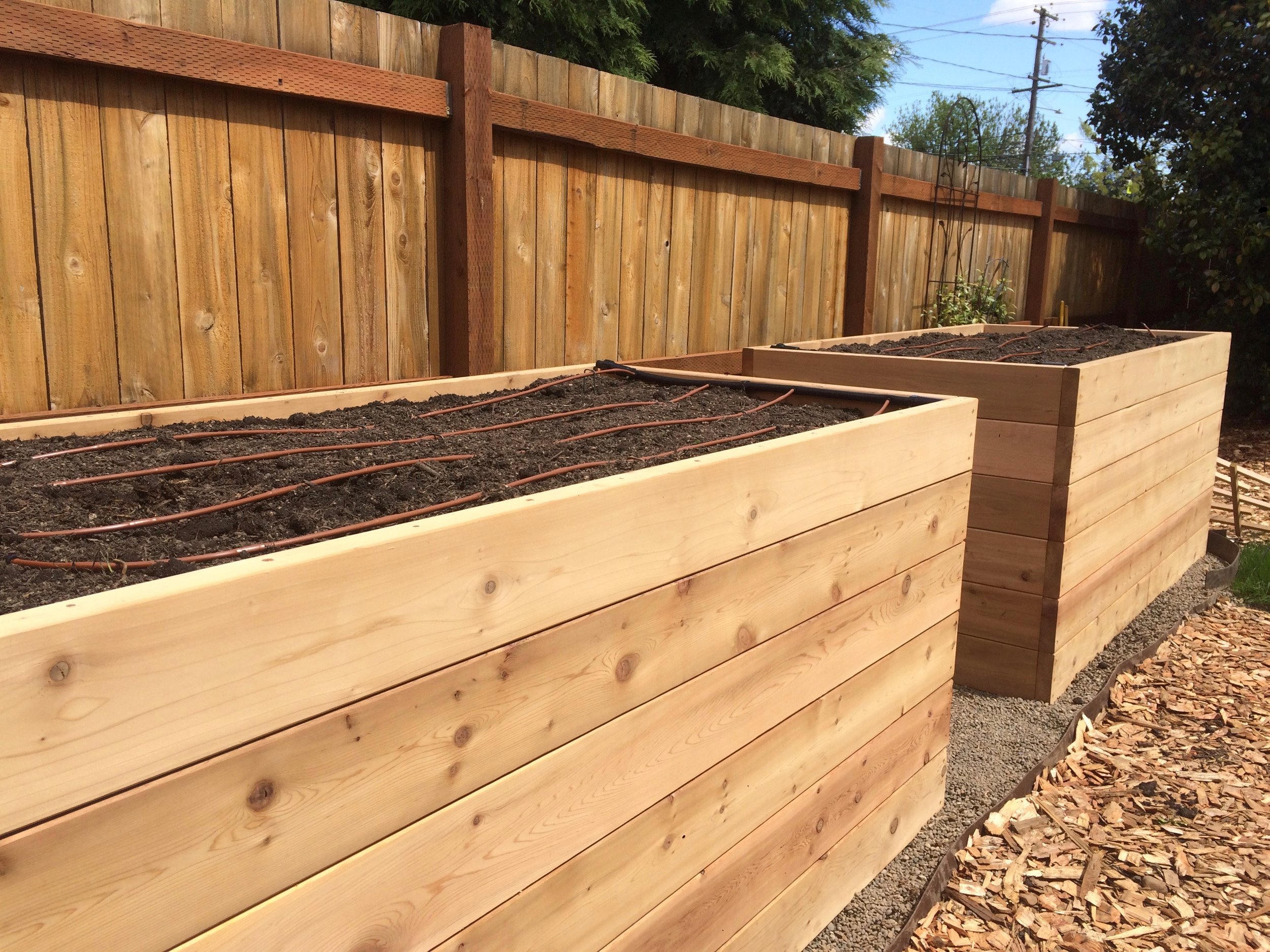 Some extra tall Cedar raised garden beds for this SE Portland Residence