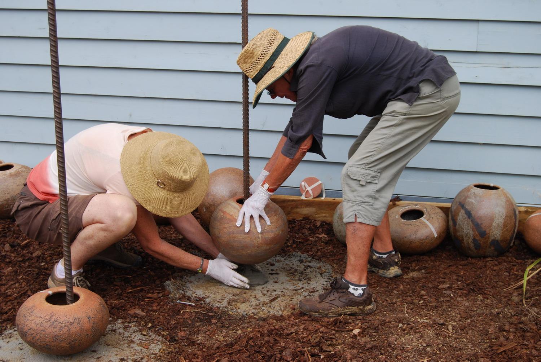 Ann Ferguson and Julie Shaw installing Stacks