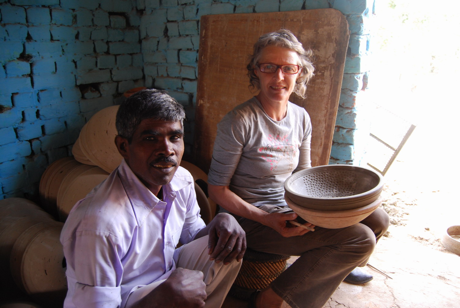 Kalu Ram and Sandra Bowkett making a mould for stack element