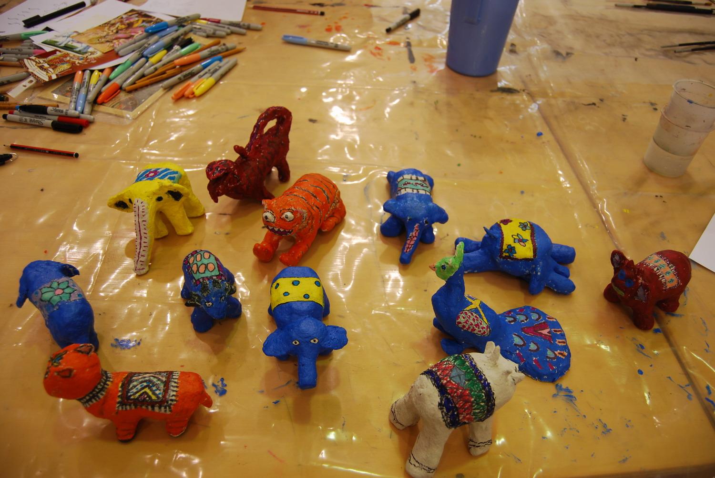 Finished paper mashe animals