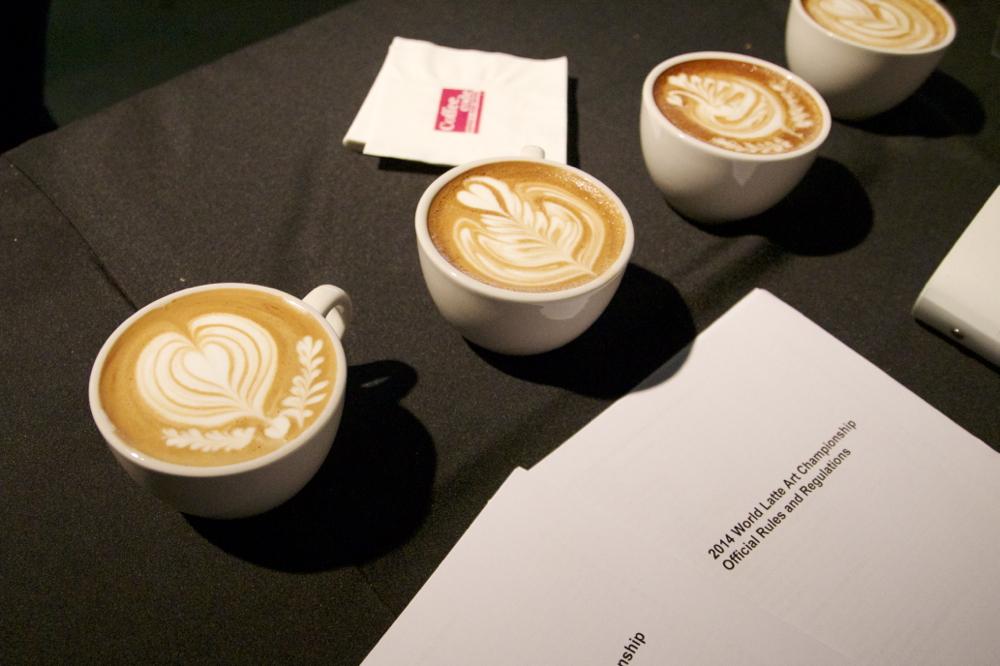 Latte art by champion Jennifer Chun of  Coffee Code