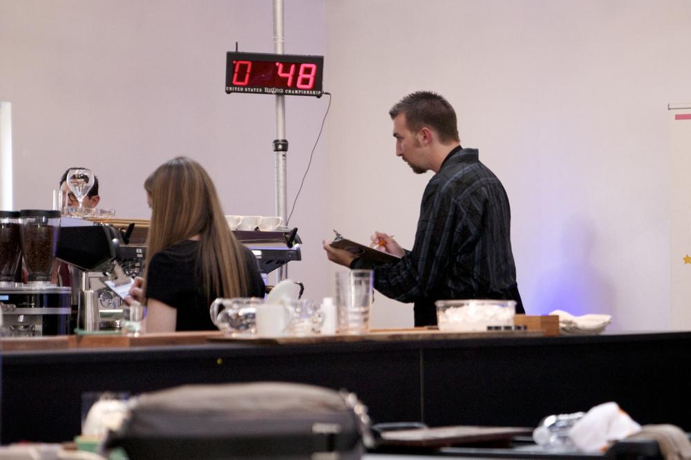 Todd Goldsworthy of  Klatch Coffee  judging