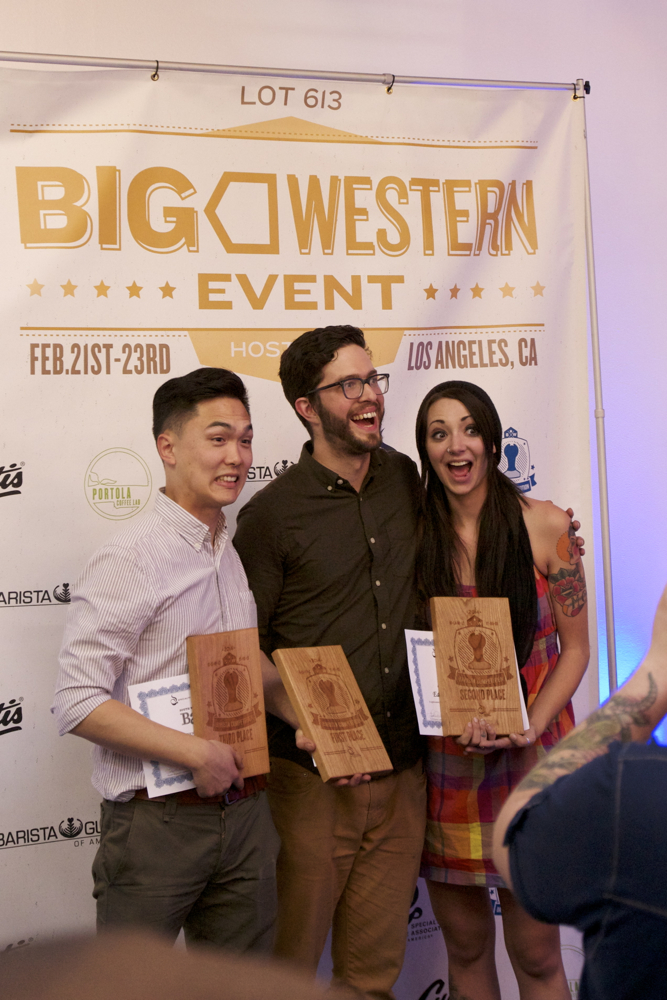 Our top 3 South West Barista Champions - Frank,  Copa Vida  - Charles,  G&B Coffee  - Eden Marie,  Intelligentisa
