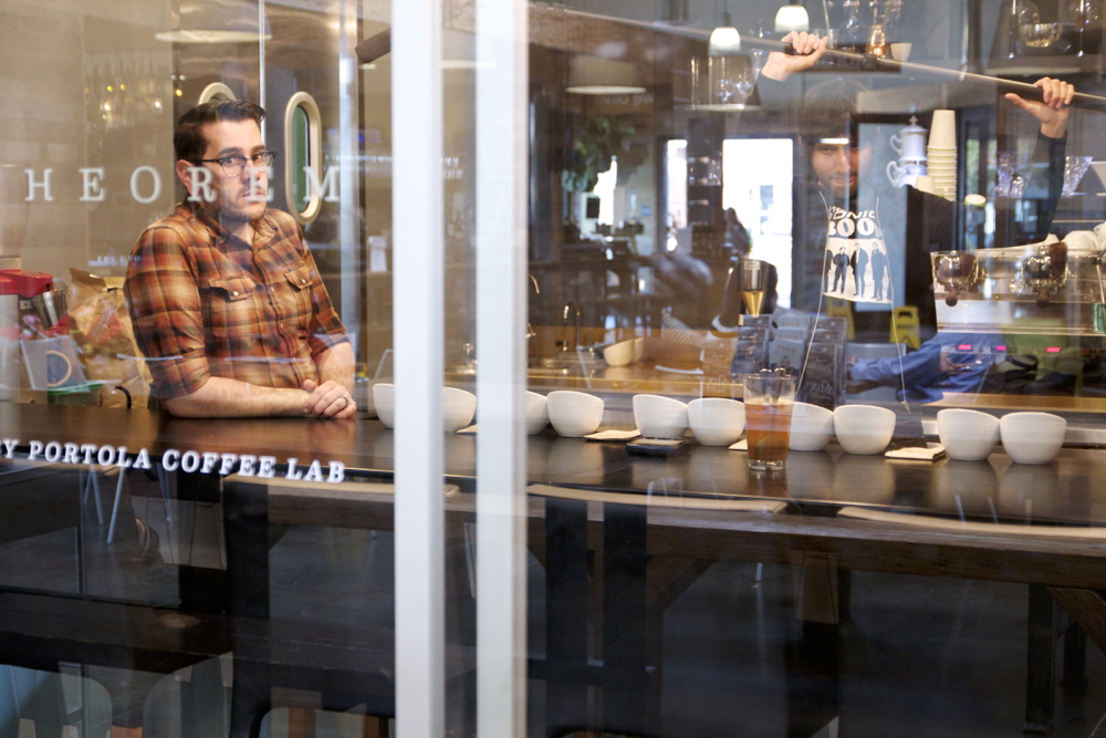 Truman Severson inside Theorem at Portola Coffee Lab,Umair Aleem working the boom.