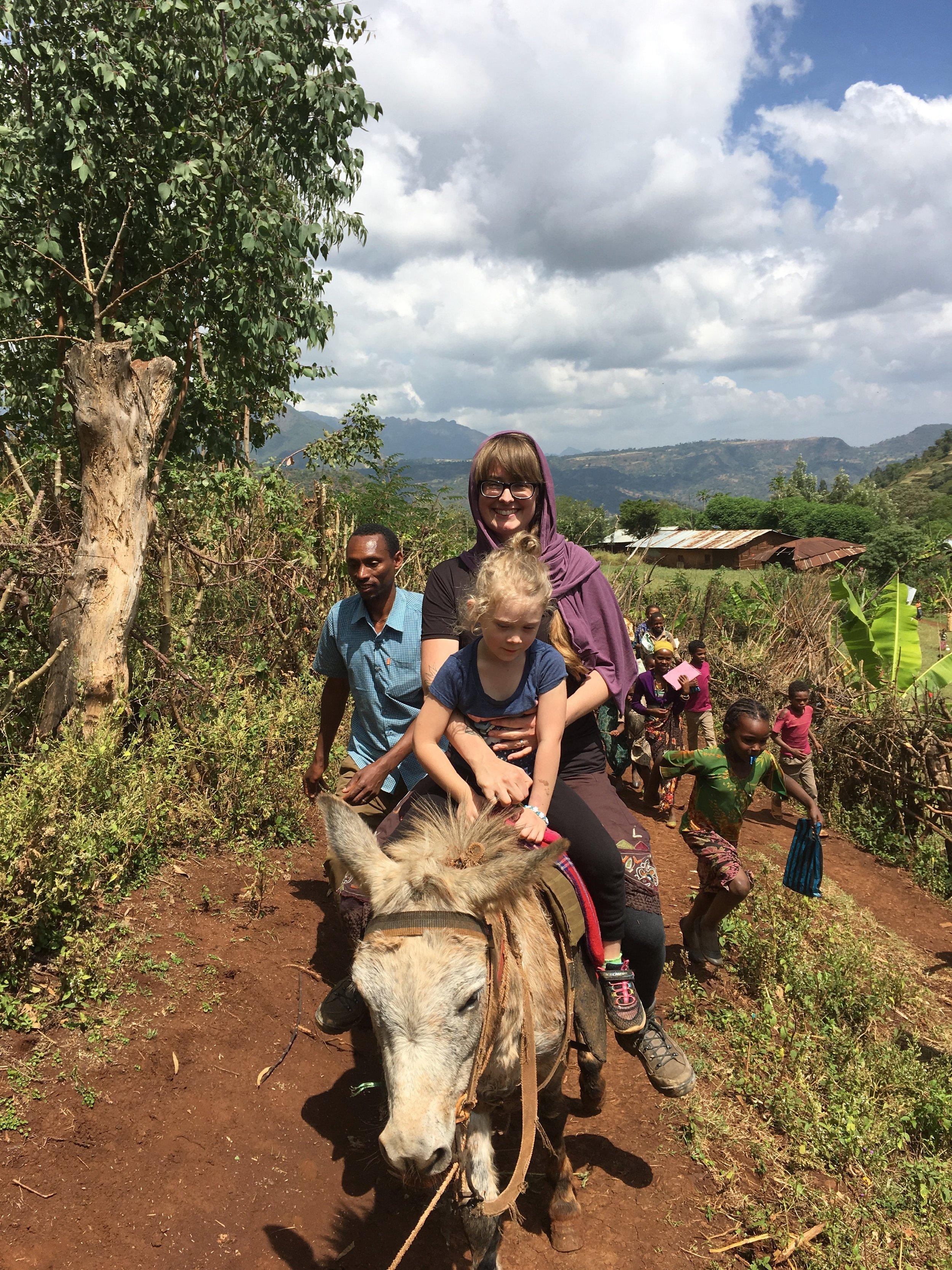 Harrar, Chancho Mt. Engule. Emily McIntyre & Eire with farmer Alme.
