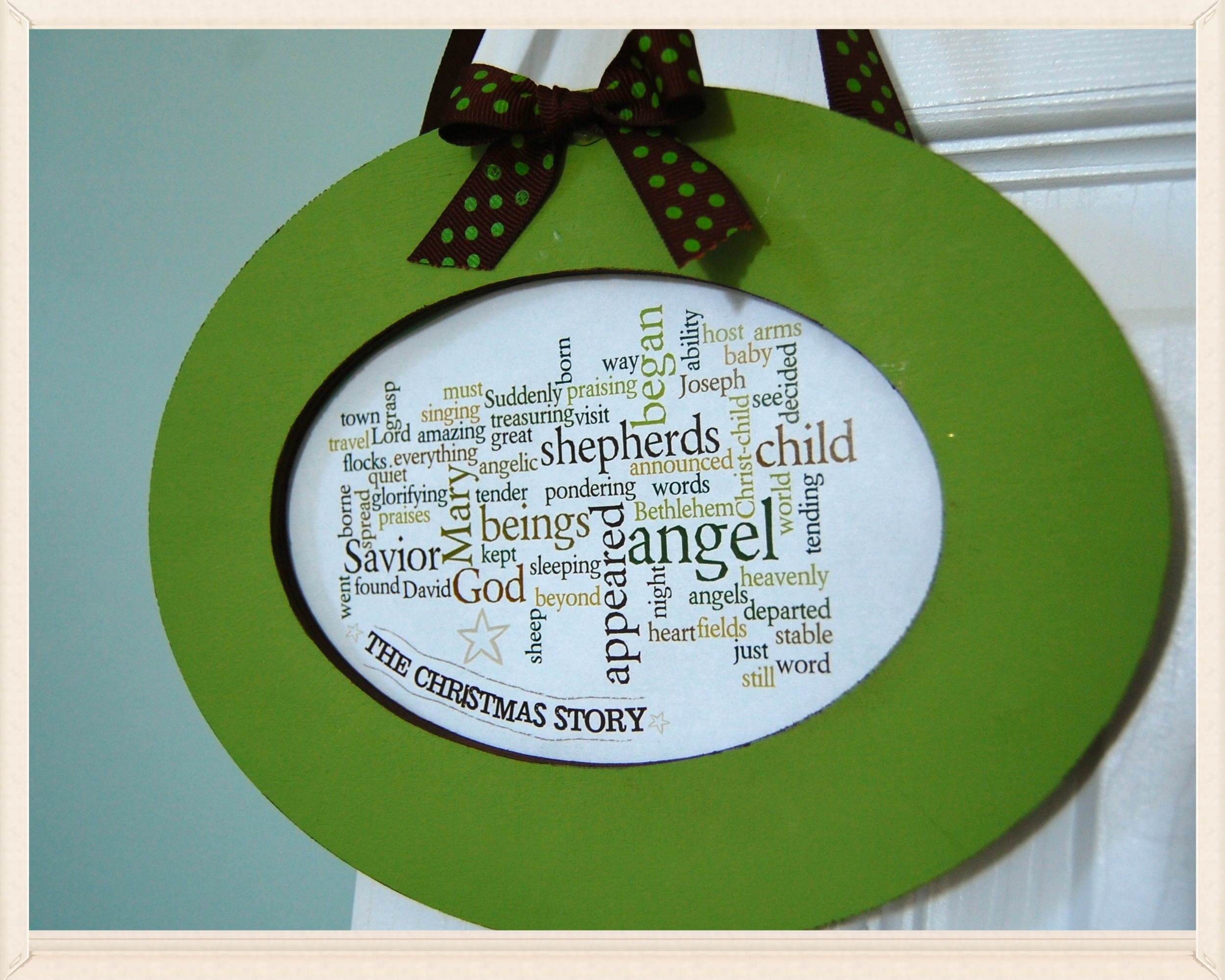 Christmas Story wordle   wooden frame . acrylic paint . dotted grosgrain ribbon . printed wordle