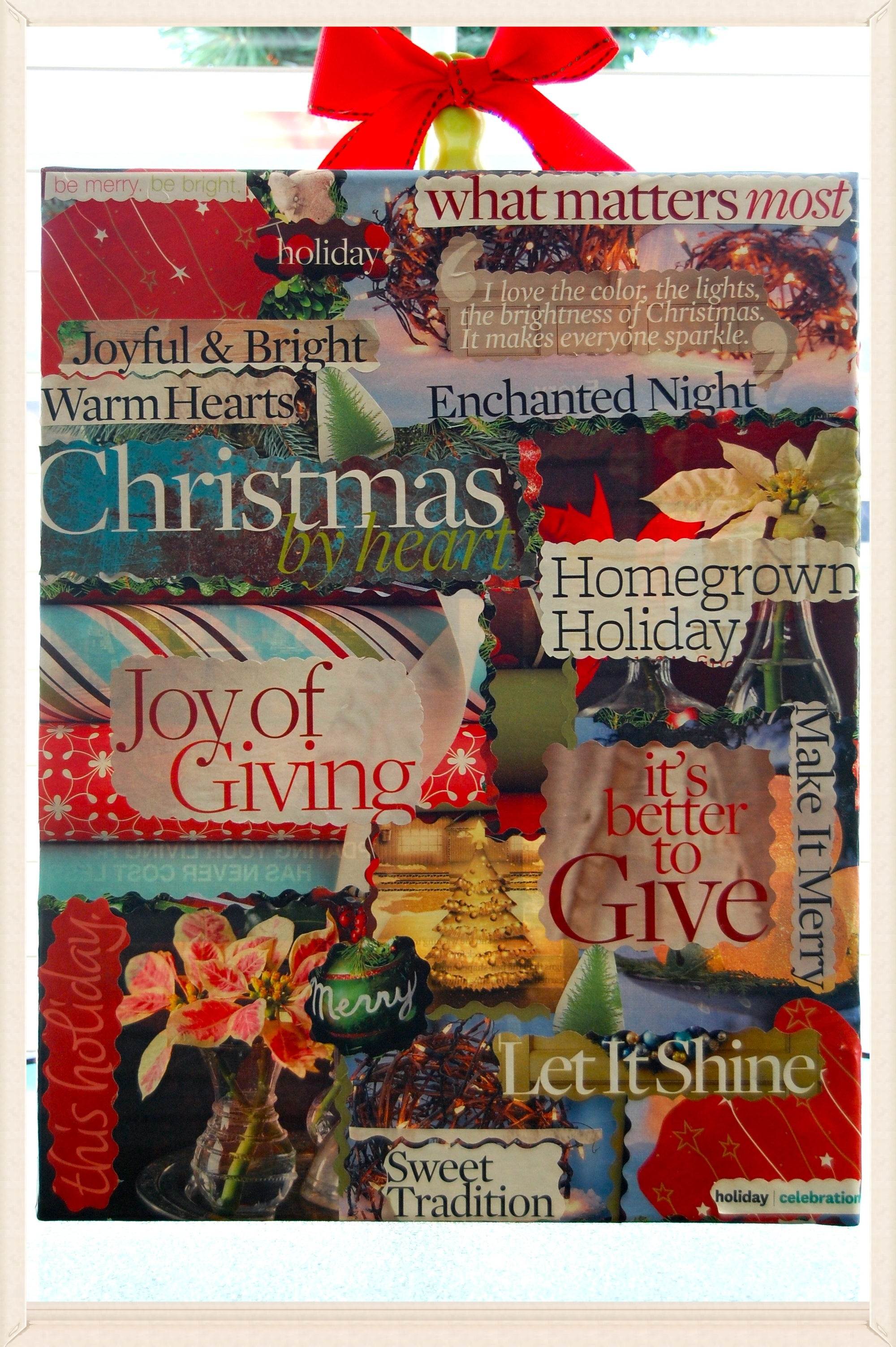 Christmas decoupage   11x14 canvas . magazine clippings . mod podge