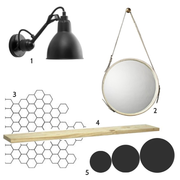 1)   La Lampe Grasse - model 304    2)   Jamie Young White Leather Strap Round Mirror    3) Svartar hexagonal flísar  4) Furuhillur   5) Svartir mattir veggir