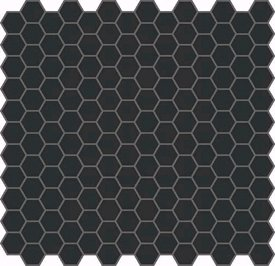 BLACK VITRIFIED HEXAGON MOSAIC frá Edwardian Tiles