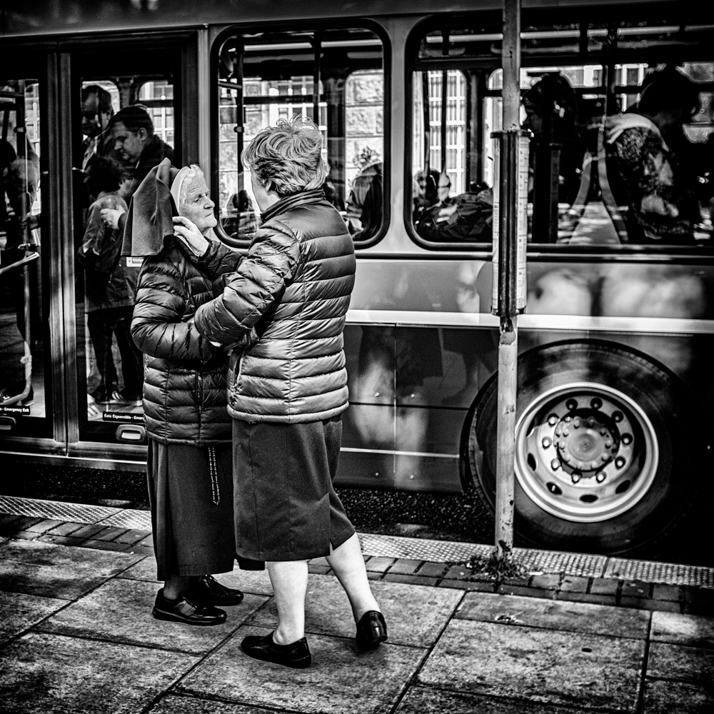 Sisters at the bus