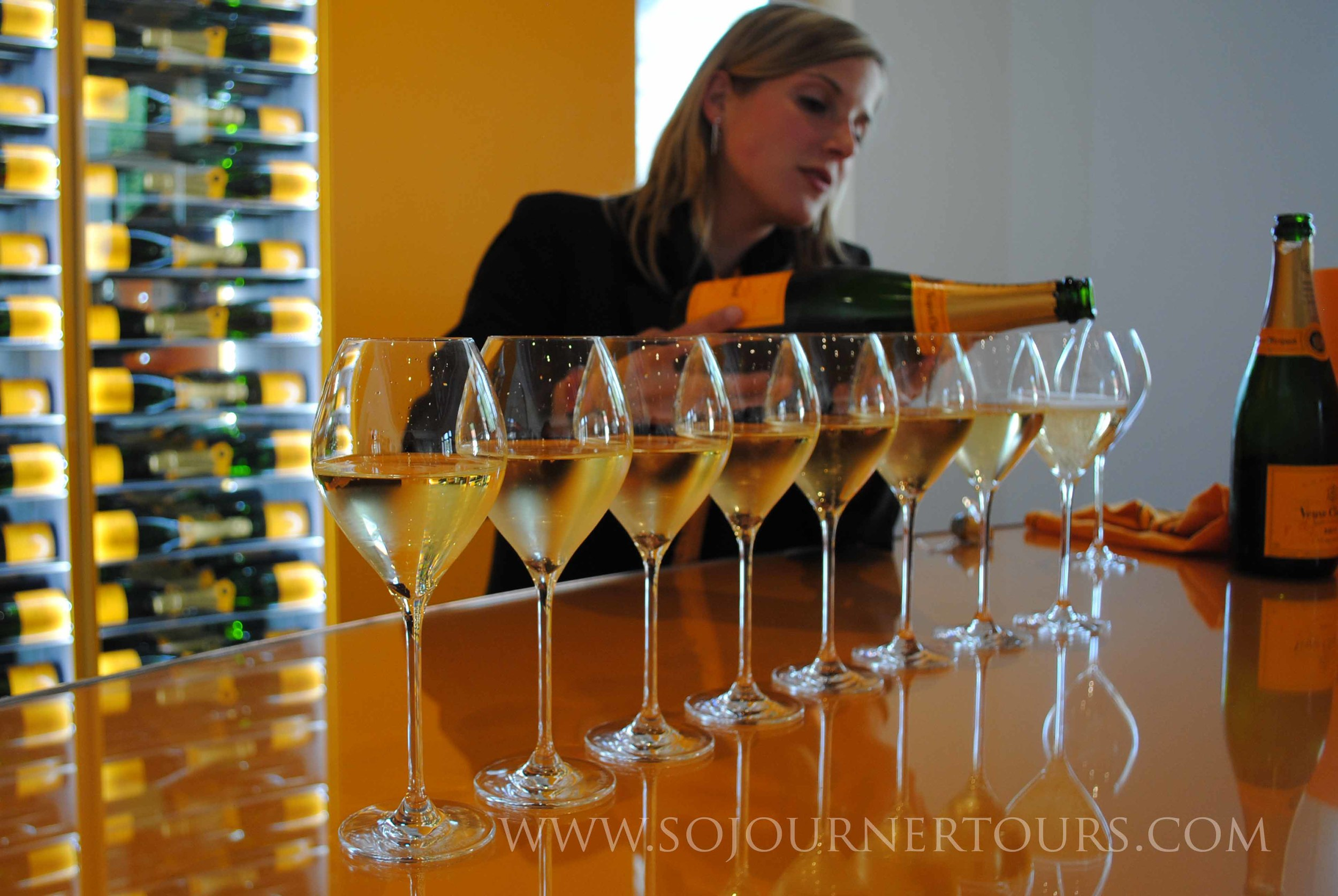 Champagne tasting after visiting the chalk cellars.