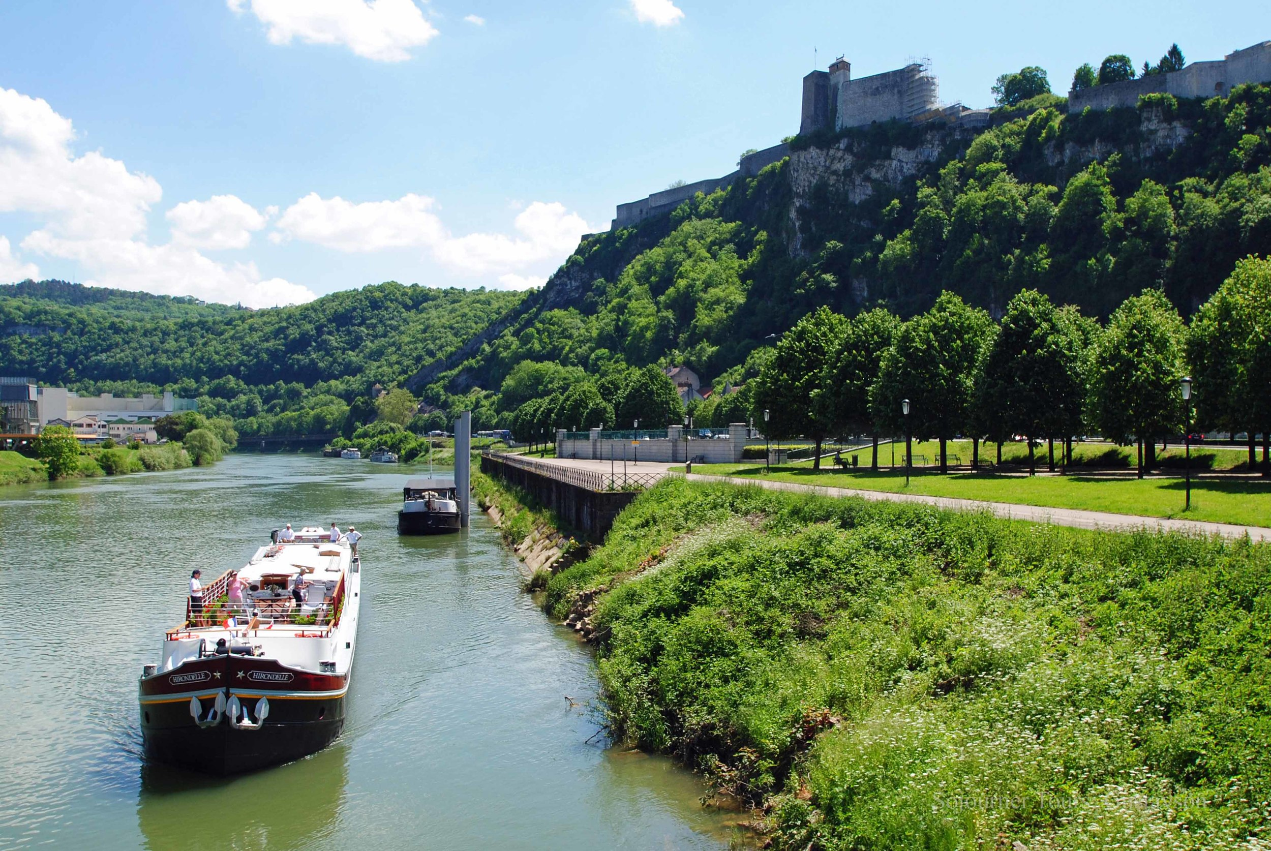 Leaving Besancon on the EuroVelo 6 Bike Path with the citadelle above.