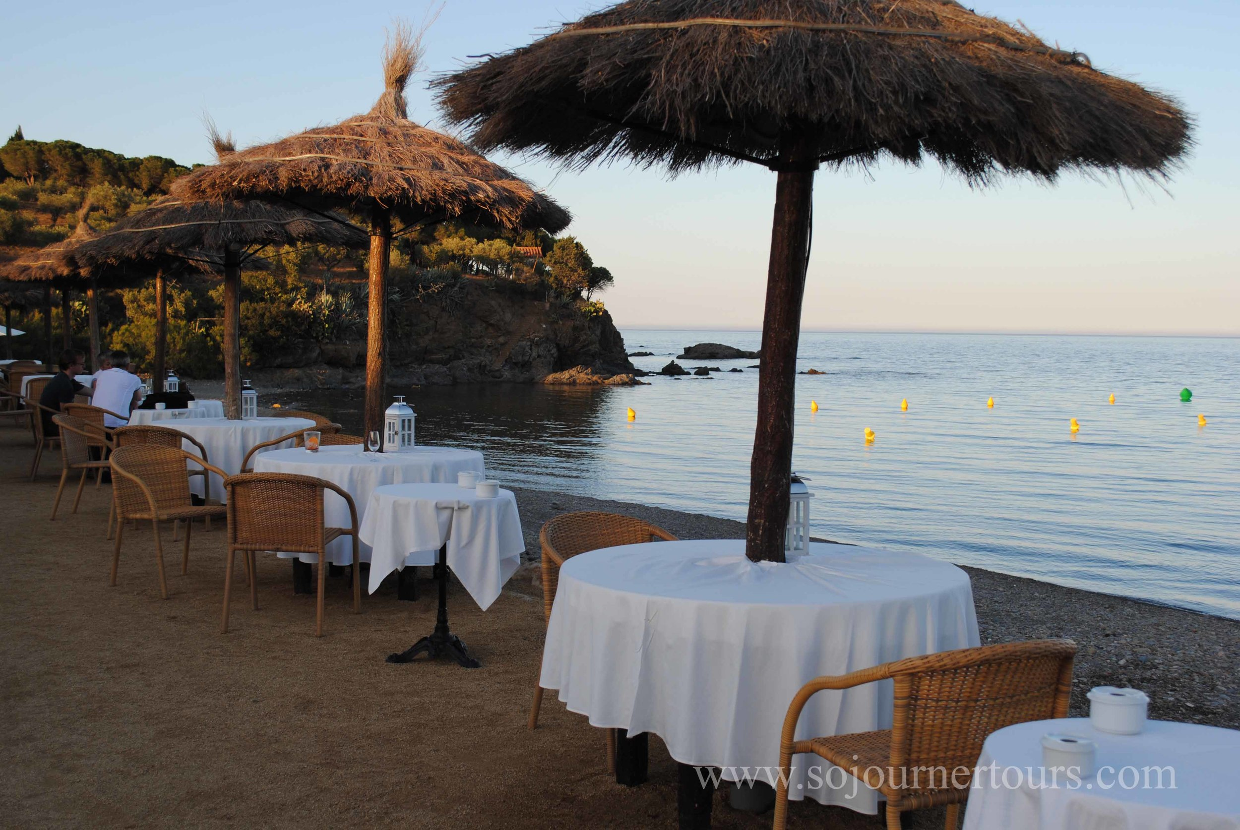 Tapas in a secluded cove on the way home to Collioure.