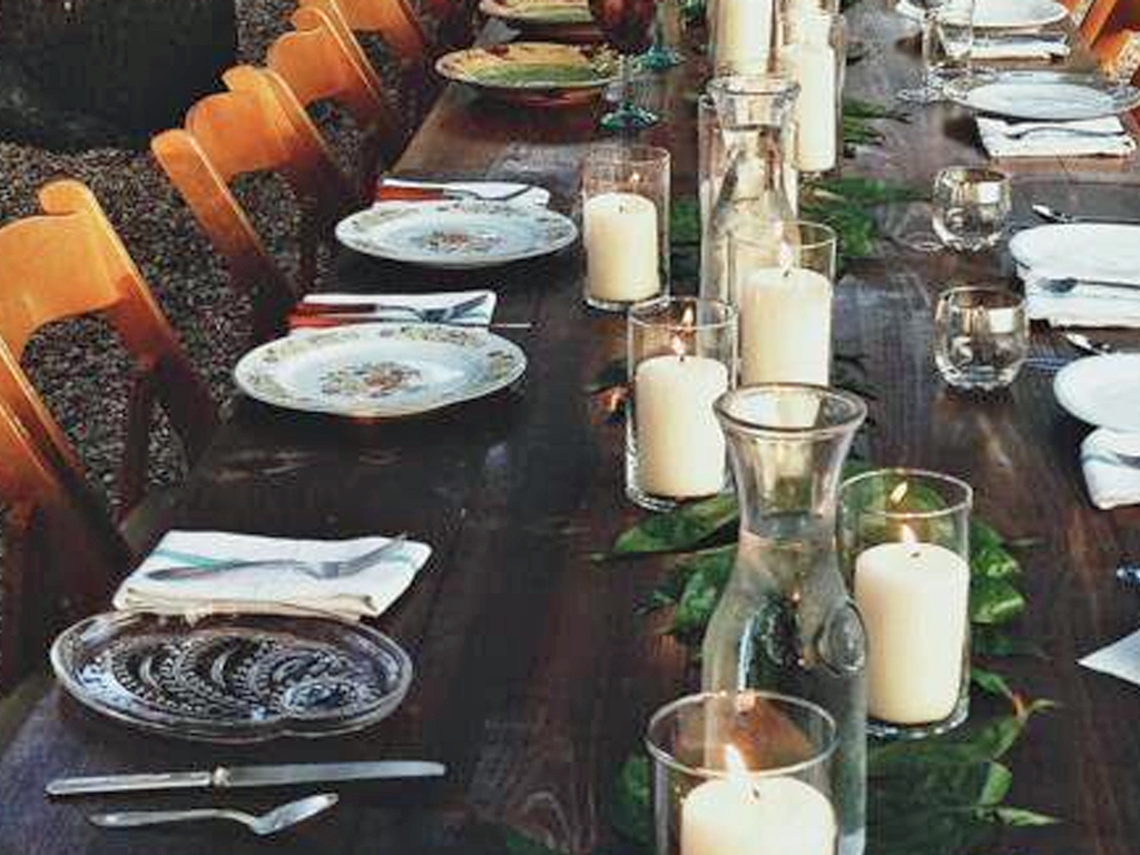 Delightfully mismatched personal place settings at Redbird Farm's Nomadic Dinner.
