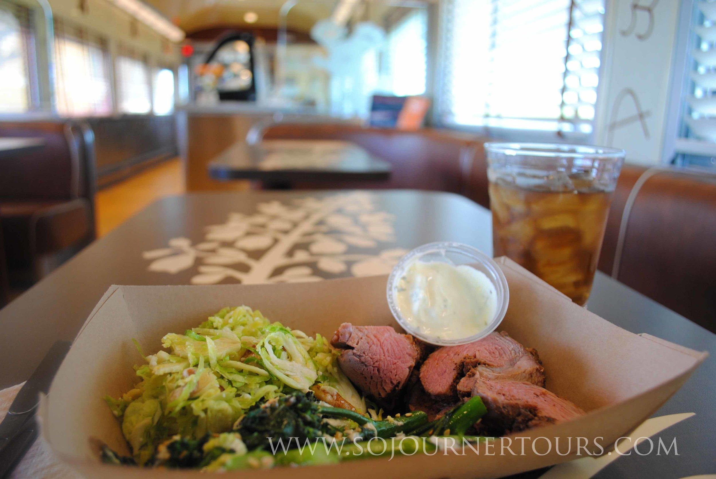 Texas Farm to Table Dinner in an old Train Restaurant  Car