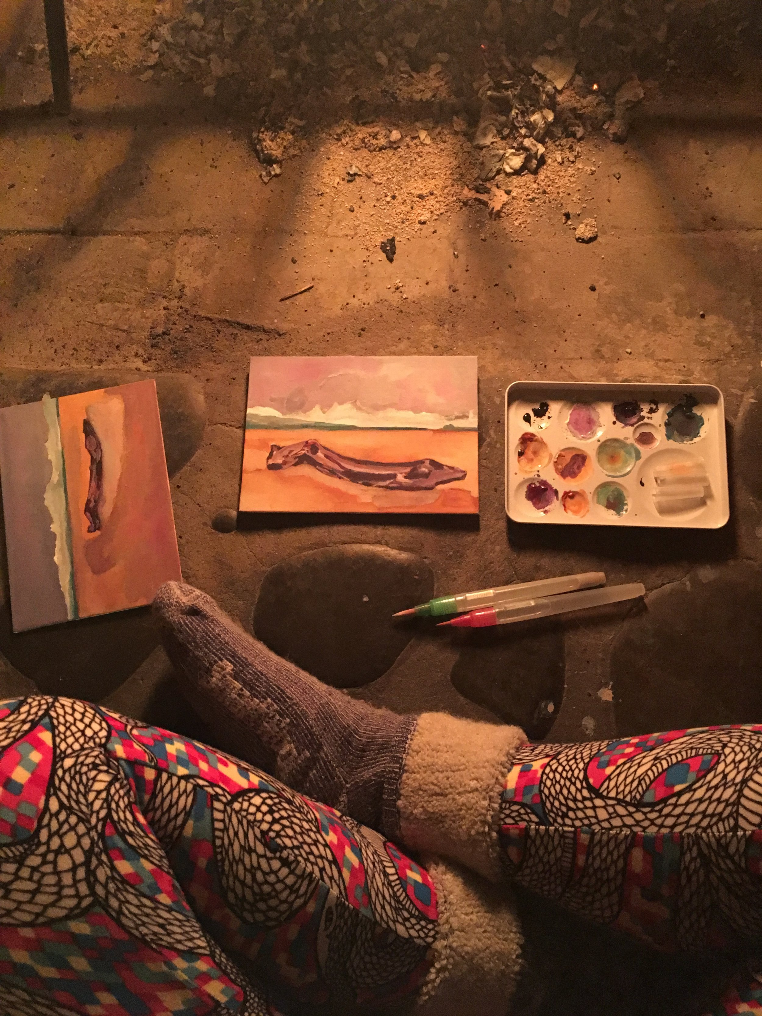 painting by firelight