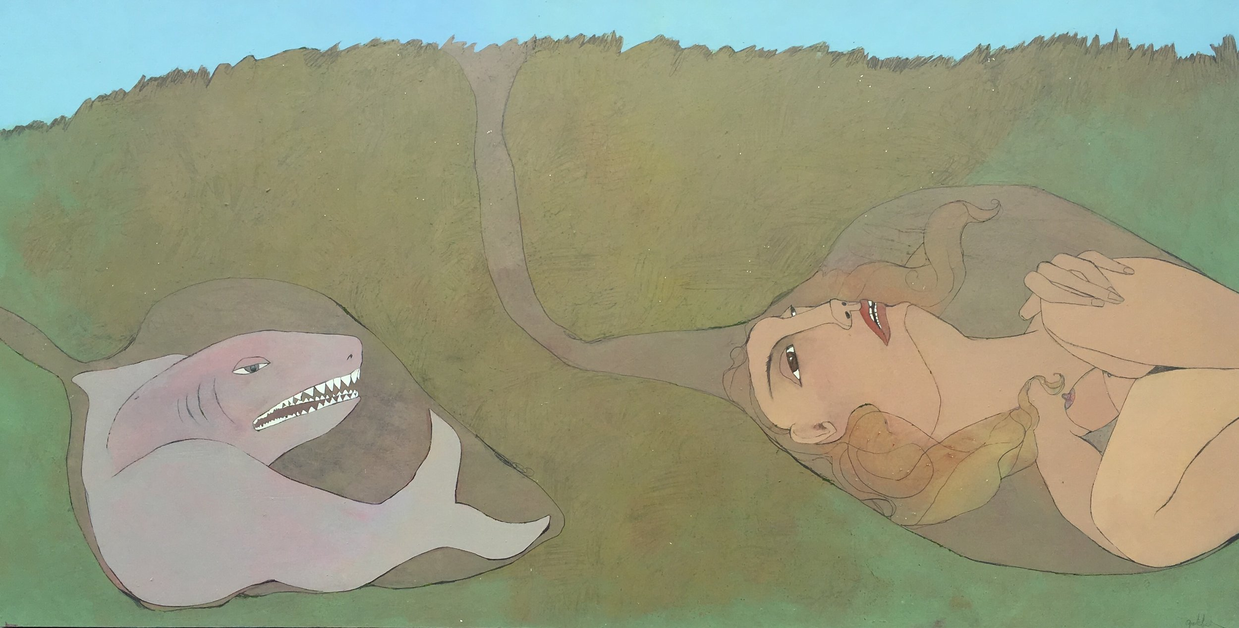 bait. don't get me started. do i empathize with this shark? i guess so. but really, the better question is,do i placate him? of course i do, i'm a woman; how do i please this shark, how do i mollify him, how do i stay here in my place away from him without upsetting the equilibrium of the entire earth.