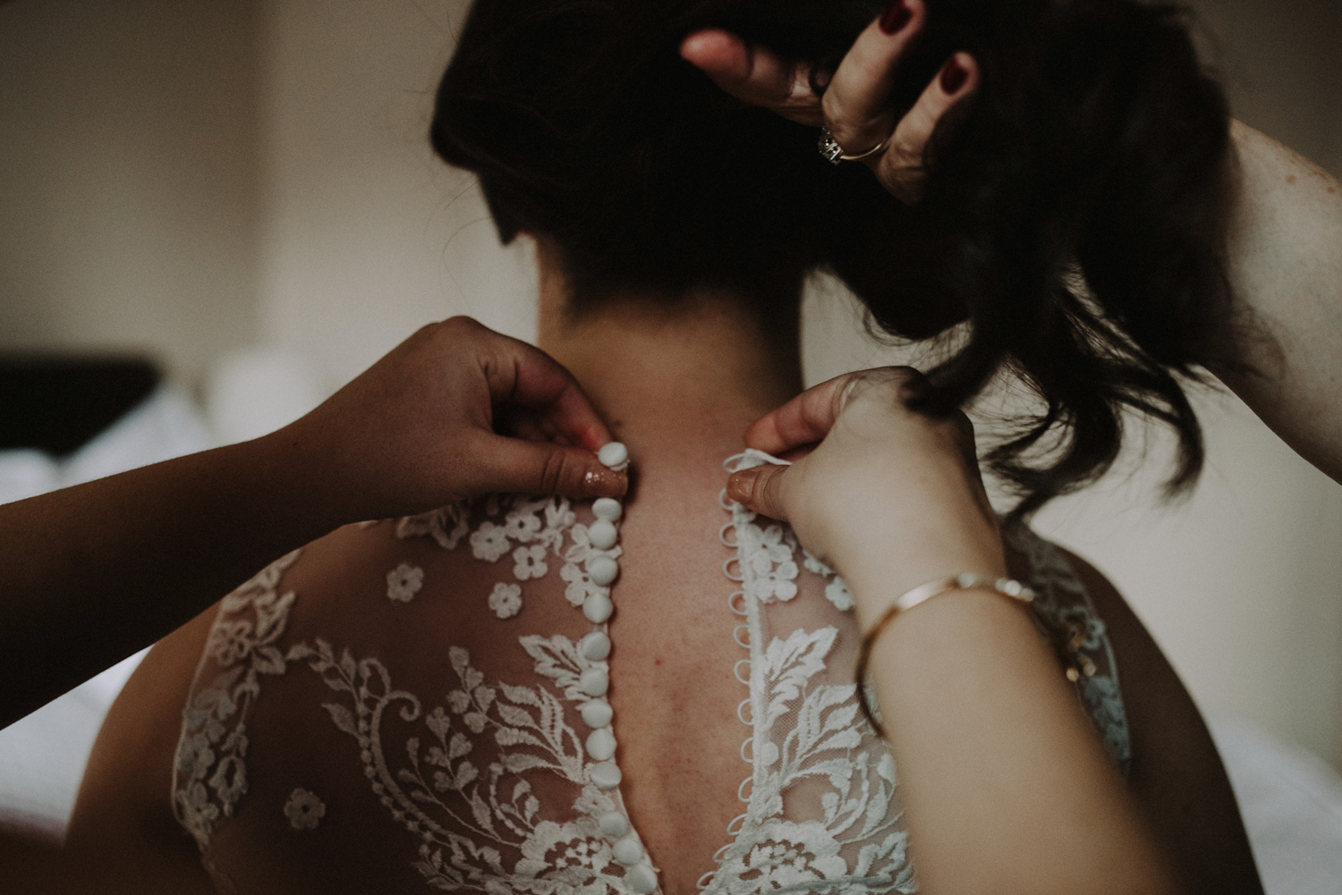 Buttoning the Dress | Getting Ready Columbus Wedding Photography