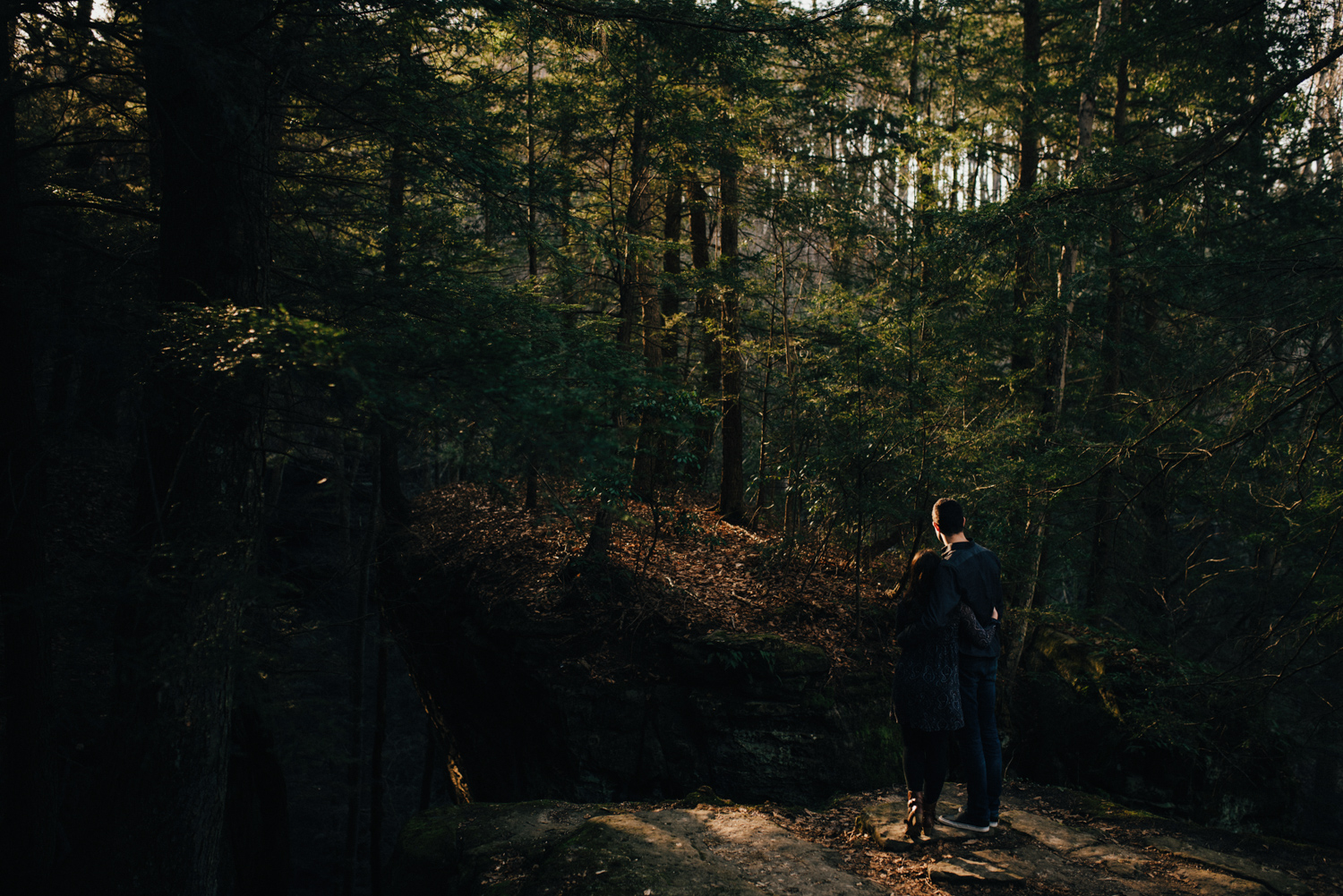 Peaceful Hocking Hills Sunset Engagement Photography