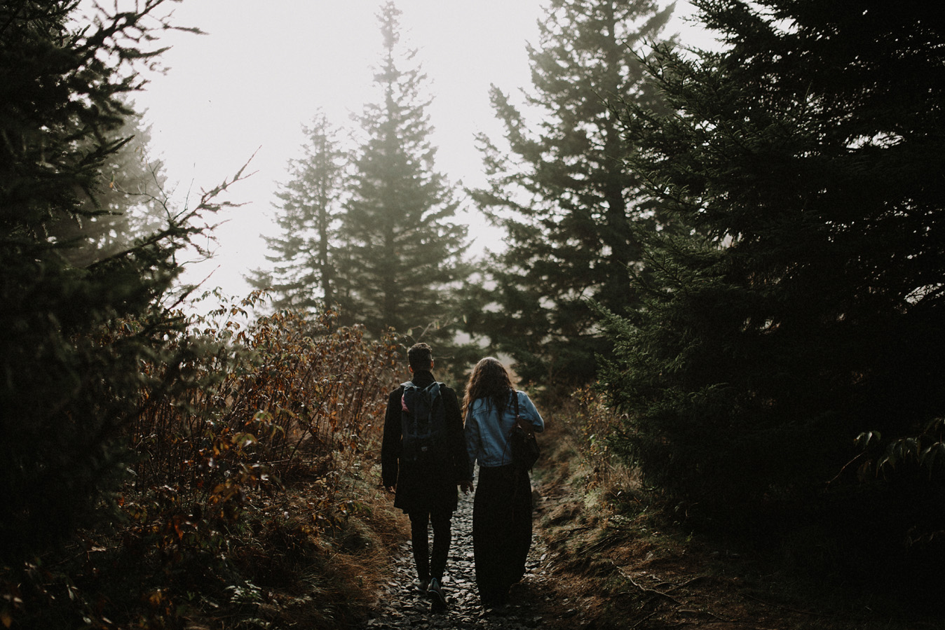 Sunrise Engagement Adventure Hiking Session in the Blue Ridge Smoky Mountains Forest