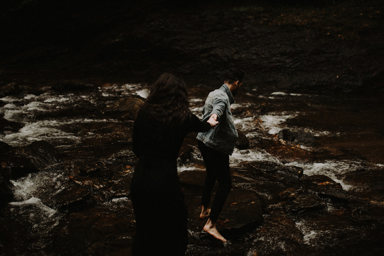 Sunrise Engagement Adventure Hiking Session in the Blue Ridge Smoky Mountains Looking Glass Waterfall
